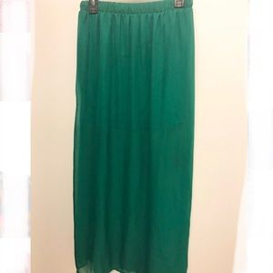Green sheer high slit Maxi skirt